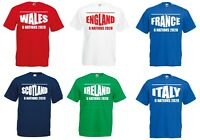 6 Nations 2020 Rugby T-Shirt Mens Ladies England Ireland Scotland Wales France