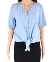 Gibson Womens Blouse Light Blue Size Small S Knit Striped Tie Front $54 586