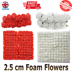 144pcs 2.5cm Stem Foam Roses of RED &WHITE Artificial Flowers for VALENTINE DAY