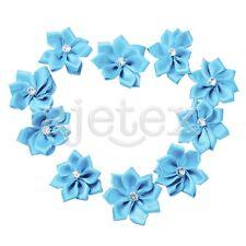 10pcs Satin Ribbon Rose Flower Appliques Rhinestone Wedding Decor Light Blue OBS