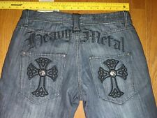 MENS BLAC LABEL 1968 32X32 HEAVY METAL PATCH IRON CROSS GRAY  JEANS NEW CUFF PIN