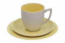 A Branksome China trio Cup Saucer & plate Grey & yellow