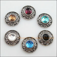 6 New Tibetan Silver Charms Mixed Crystal Round Flower Pendants 18mm