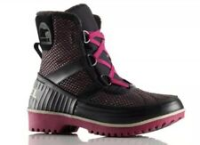 NEW SOREL Tivoli II Boot Women's 8 Black Purple Waterproof Leather Fleece Lined