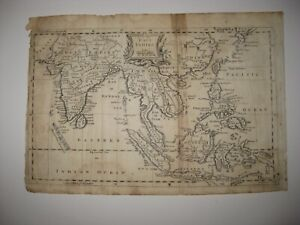 ANTIQUE 1767 EAST INDIES COPPERPLATE MAP INDIA PHILIPPINES ASIA CHINA FORMOSA NR