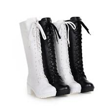 Womens Cosplay Lace Up Chunky Block Heels Knee High Boots Lolita Gothic Shoes