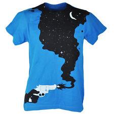 Gun Smoke Into Stars Moon Turquoise Mens Adult Graphic Tshirt Tee Shirt