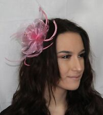 Pastel Pink Net Flower Feather Fascinator on clip + pin diamante crystal details