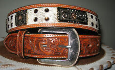 3D WESTERN UNISEX BELT LEATHER COWHIDE AMBER CONCHO RODEO COWBOY COWGIRL 44
