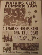 Vintage Grateful Dead, Allman Brother SEPIA Concert Poster Watkins Glen 11 x 14