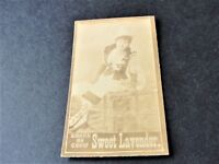 Antique 1880s Sweet Lavender Tobacco Card with black and white image of lady.