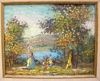 Impressionist Oil Painting Landscape Mountain Forest Pond Mother Children Signed