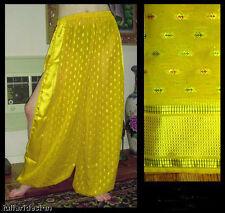 Harem Pants Belly Dance Sari Chiffon Earthy Yellow w/ Bright Yellow Slit