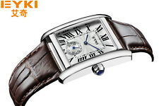 Original EYKI Roman Number Sub small Second dial Brown Leather Strap Men watch