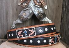 3D GENUINE LEATHER WESTERN BELT RODEO BLACK STINGRAY CROSS CONCHO TOOLED SZ 44