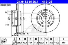 2x Bremsscheibe für Bremsanlage Vorderachse ATE 24.0112-0126.1