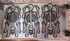 HALLOWEEN Poster Vintage UnCut Metallic Paper Decor Flat NOS Skeletons BlackCats