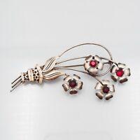 Vintage Estate Sterling Red Rhinestone Migley Floral Bouquet Brooch Pin
