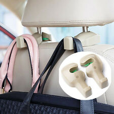 2pcs Car Seat Headrest Hanging Hook Coat Purse Bag Hanger Organizer Holder Beige