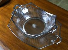 Antique Sterling Silver Overlay Large Glass Fruit Bowl with Stand Plate