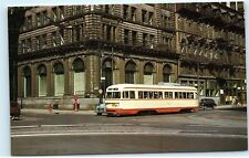 *Montreal Quebec Tramways 3500 PCC Street Car McGill St. Jacques st Postcard B59