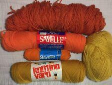 Vintage Assorted Shades Orange Yellow Skeins Balls Yarn 4 ply Acrylic