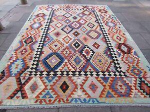 Vintage Kilim Traditional Hand Made Oriental Green Wool Large Kilim 348x253cm