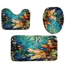 4Pcs Home Bathroom Decor Set Two Mermaids Pattern Toilet Seat Cover Bath M V5R6