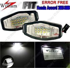 2 Bulbs Xenon White LED License Number Plate Lights For Honda Accord 2003-2008
