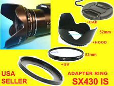 ADAPTER+UV FILTER+LENS HOOD+CAP 52mm > CANON POWERSHOT SX430IS,SX430 IS,SX-430IS