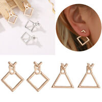 Women Triangle Dangle Drop Square Ear Studs Boho Jewelry Geometric Earrings