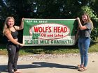 NICE ORIGINAL Vintage WOLF'S HEAD OIL & LUBES Sign BANNER Advertising OLD Gas
