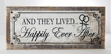 And They Lived Happily Ever After Metal Sign, On Handmade Rustic Reclaimed Wood