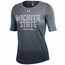 Under Armour NCAA Women's Short Sleeve Dip Dye Tee Wichita State Gray Medium M