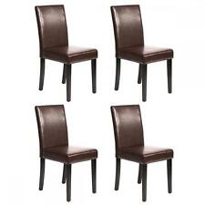 Beau Set Of 4 Brown Leather Contemporary Elegant Design Dining Chairs Home Room  2XU42