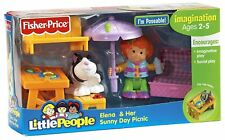 Little People Elena and Her Sunny Day Picnic - Table, Basket, Umbrella & Rabbit