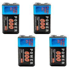 4 pcs 9V 9.0 V Volt 600mAh Ni-MH 6F22 PP3 17R8H Rechargeable Battery Power