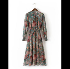 NEW MIDI DRESS WITH SHIRRED WAIST FLORAL PRINT GREEN SIZE S-XL 8060/726