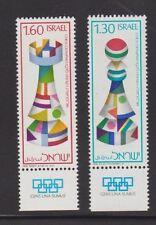 ISRAEL 1976 CHESS OLYMPICS Tab Stamps Bale 654-655 Sc 609-610 Rook Bishop MNH