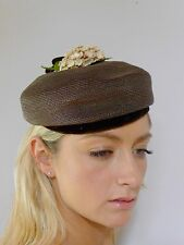 Vintage retro true 1930s Deco brown straw hat floral cluster excellent RB
