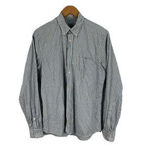 J Lindeberg Mens Button Shirt Size Medium Slim Grey Striped Long Sleeve 14.08
