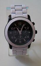 Black/White finish designer inspired style fashion Geneva link unisex watch
