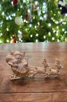 """Vintage Christmas White Plastic Santa Sleigh and Reindeer Hong Kong 4"""" MCM"""
