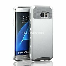 For Samsung Galaxy S7 Edge Case Hybrid Shockproof Heavy Duty Rubber Cover Silver