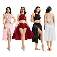 Women Ladies Lyrical Sequined Crop Top Ballet Dance Dress Costume Leotard Skirts