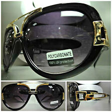 VINTAGE RETRO HIP HOP RAPPER Style PARTY SUN GLASSES SHADES Black & Gold Frame
