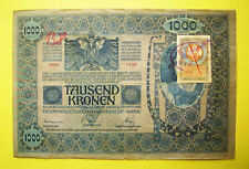 1000 KRONEN (1902),with 2 x RED SEALS!+ STAMP!CROATIA,Min. of FINANCE,RARE!