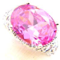 Natural Shiny Oval Natural Pink Topaz Kunzite Gemstone Silver Ring Size 7 8 9