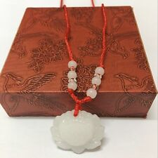 Necklace Fashion Lucky Charm New Natural White Jade Lotus Pendant