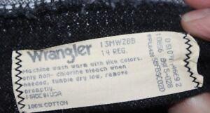 Vintage  CLASSIC   YOUTH  14 Reg   Wrangler    Black Denim  Jeans  24 x 28